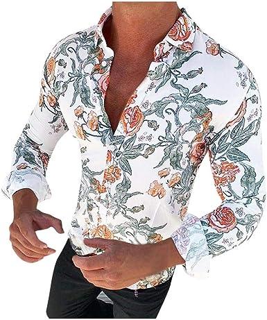 Yivise Camisa Casual de Moda para Hombre Blusa de Manga Larga ...