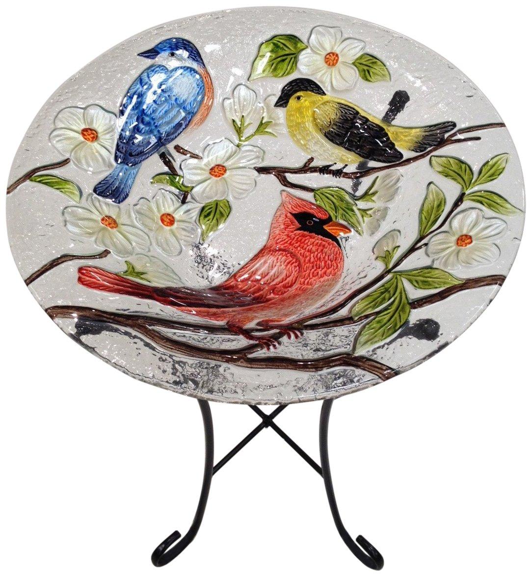 Continental Art Center CAC2412801 Bird Bath Glass Bowl, 13 by 2-Inch, Three Birds