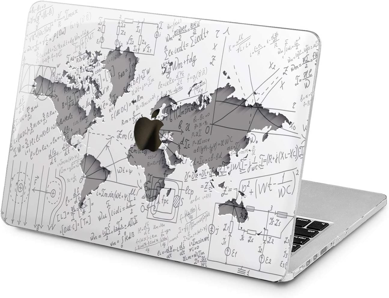 "Cavka Hard Shell Case for Apple MacBook Pro 13"" 2019 15"" 2018 Air 13"" 2020 Retina 2015 Mac 11"" Mac 12"" Gray Geography Plastic Protective Trendy Cover Print Math Laptop Science Nerd World Map Design"
