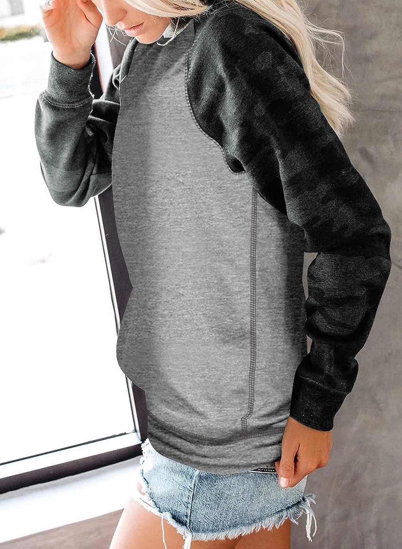 CANIKAT Womens Lightweight Crewneck Camo Print Long Sleeve Sweatshirts Loose Fit Pullovers Tops