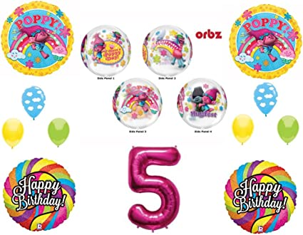 POPPY TROLLS RAINBOW 6th Happy Birthday Party Balloons Decoration Supplies Movie c AND s Party Supply