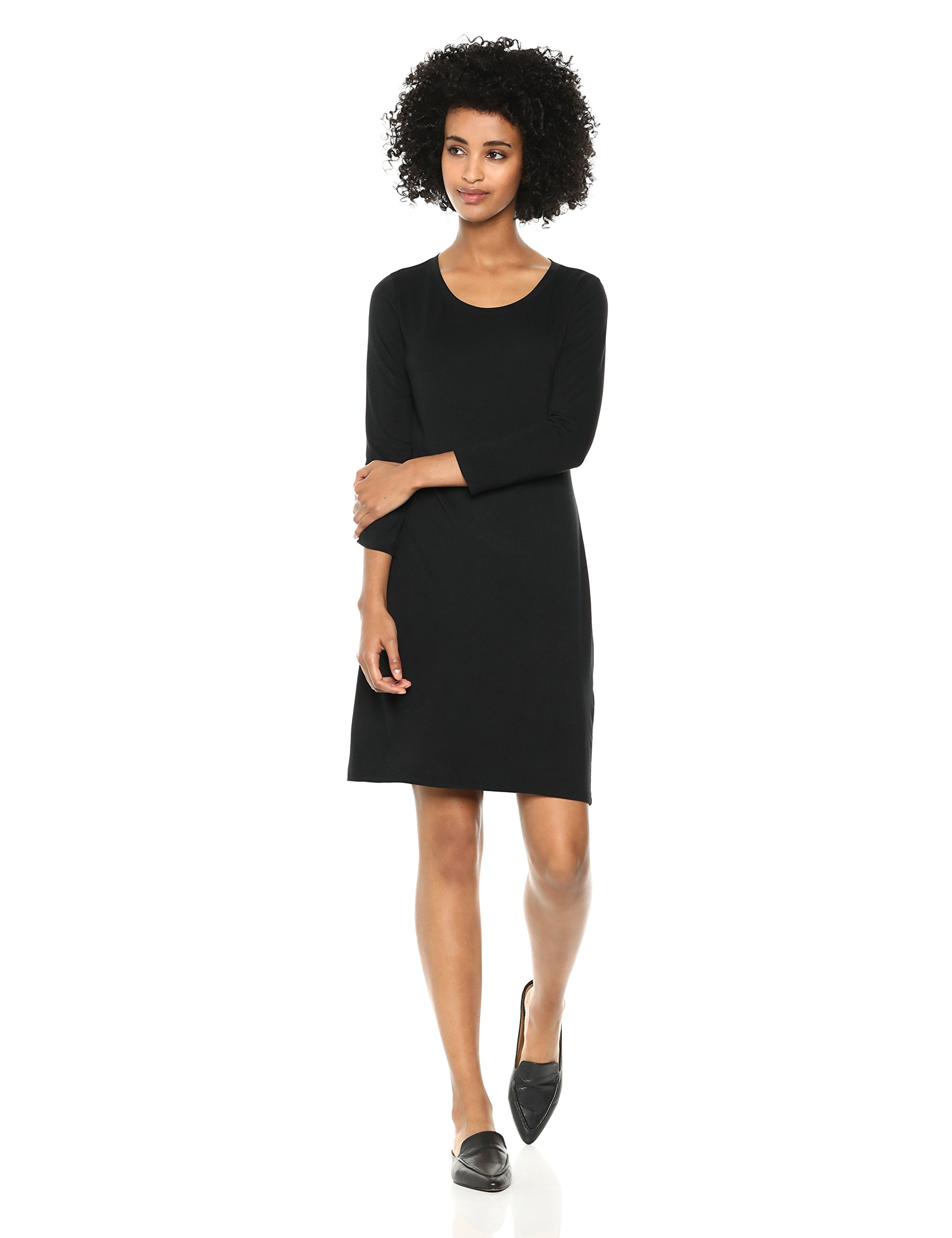 Daily Ritual Women's Jersey 3/4-Sleeve Scoop-Neck T-Shirt Dress, Black, Small