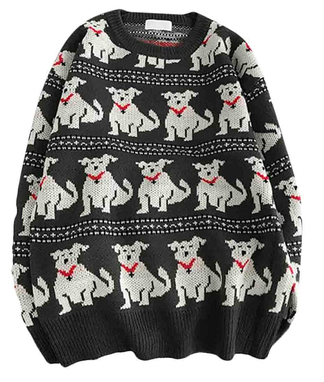 Hurrg Men Casual Winter Baggy Long Sleeve Pullover Dog Knit Round Neck Sweater