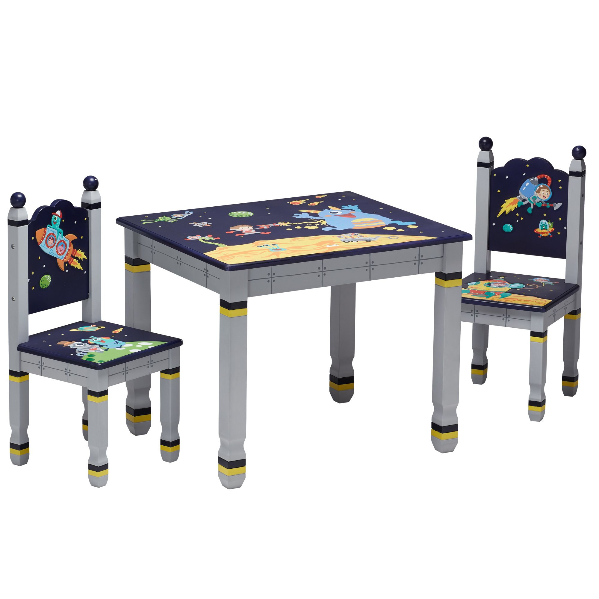 Fantasy Fields - Outer Space Kids Wooden Table & Set of 2 Chairs | Imagination Inspiring | Hand Crafted & Hand Painted Details | Child-Safe. Lead Free Water-based Paint