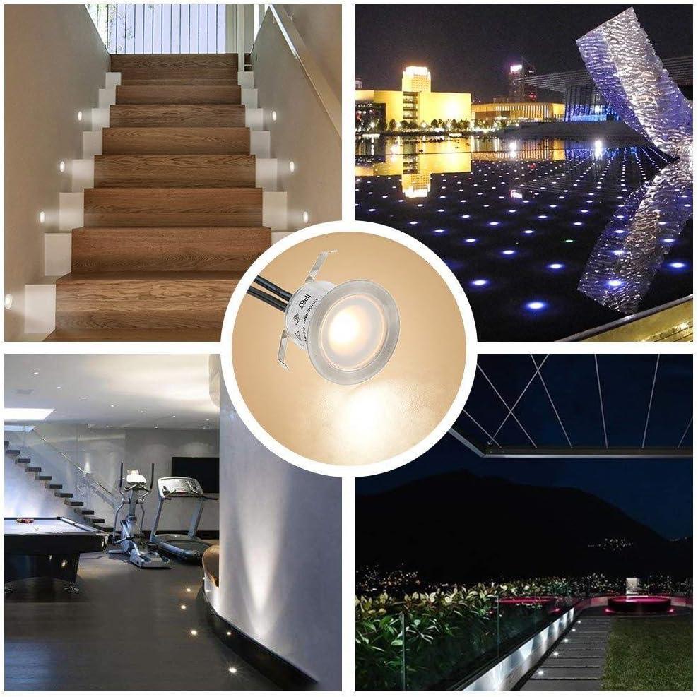 IP67 Etanche Martll Spot LED Encastrable,Spots Encastr/és LED Ext/érieur Spots Luminaires pour Escaliers Lumi/ère Step Stair Garden Patio Blanc chaud, 16 Pi/èces