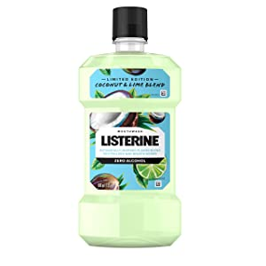 Listerine Zero Alcohol Mouthwash, Oral Rinse Kills up to 99% of Bad Breath Germs, Limited Edition Coconut Lime Flavor, 500 mL (Pack of 6)