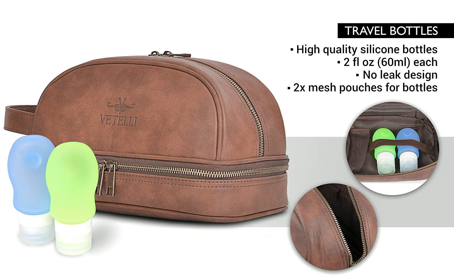 cb2ed966382f Amazon.com  Vetelli Leather Toiletry Bag For Men (Dopp Kit) with free  Travel Bottles. The perfect gift and travel accessory.  Clothing