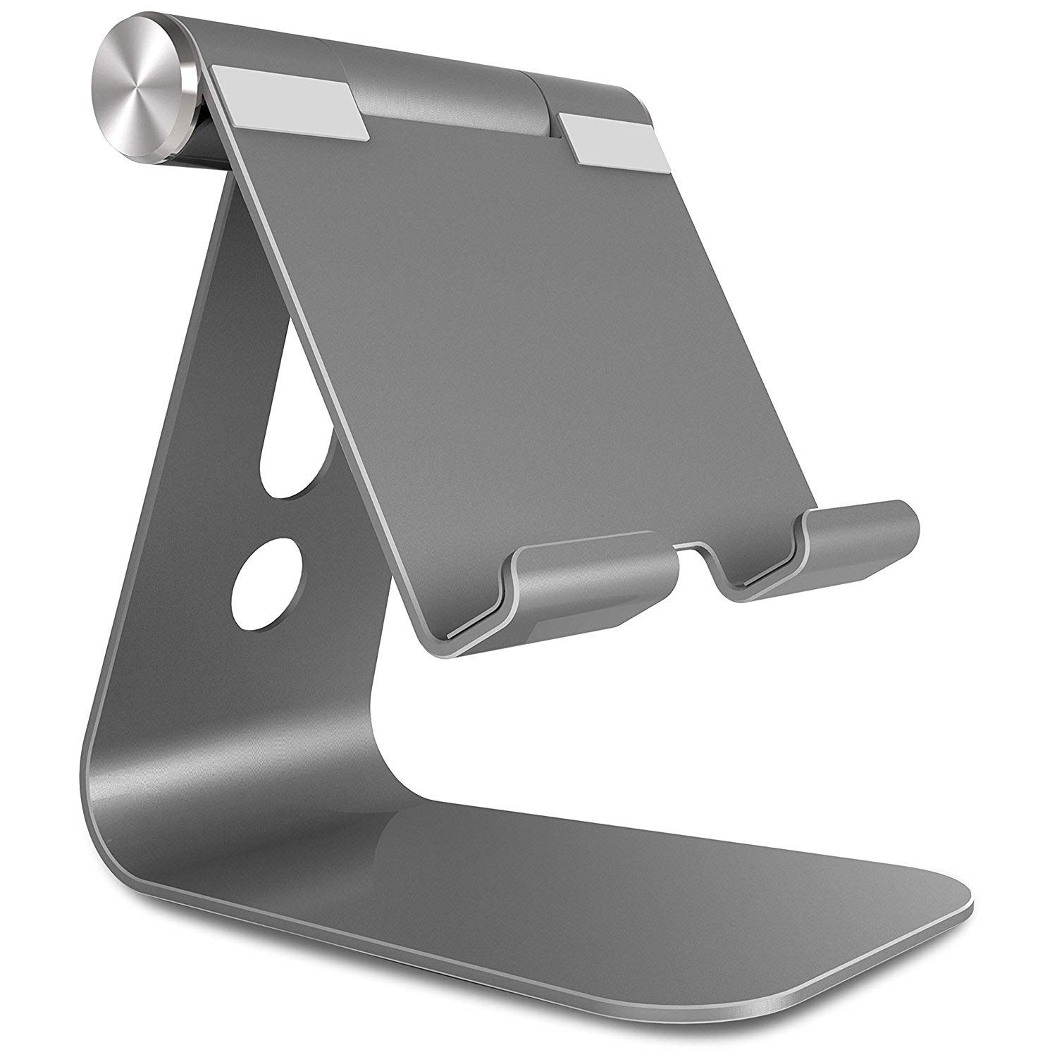 Tablet Stand, BONUSIS Cell Phone Holder Adjustable Tablet Holder Aluminum Alloy Desktop Cell Phone Stand Universal 240 Degree Multi-Angle Rotatable for 4-13 inch Devices [Gray] A1
