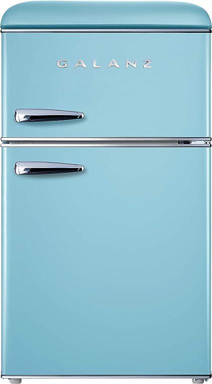 Retro Compact Refrigerator - Mini Fridge with Dual Doors, Adjustable Mechanical Thermostat with True Freezer (3.1 Cu Ft) Blue