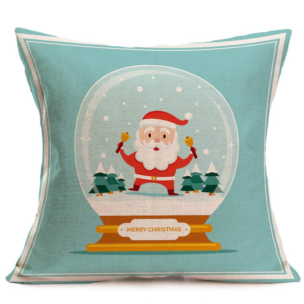 Merry Christmas Pgojuni Linen Pillowcase Decoration Accent Throw Pillow Cover Cushion Cover for Couch/Sofa 1pc 45X45 cm (D)