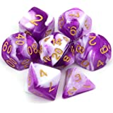 Haxtec Swirl DND Dice Set 7PCS Polyhedral D&D Vortex Dice for Roleplaying Dice Games as Dungeons and Dragons (Purple White)