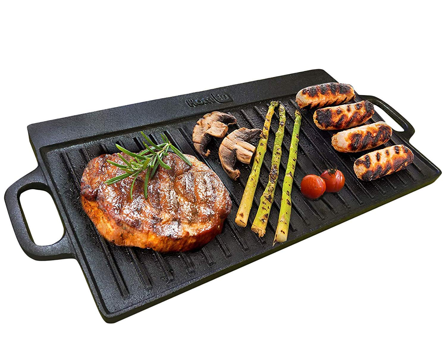 Homiu Cast Iron Reversible Griddle Pan, Double Sided and Reversible with Non Stick Ridged and Flat Surfaces and Integral Drip Tray for Stoves and Grills