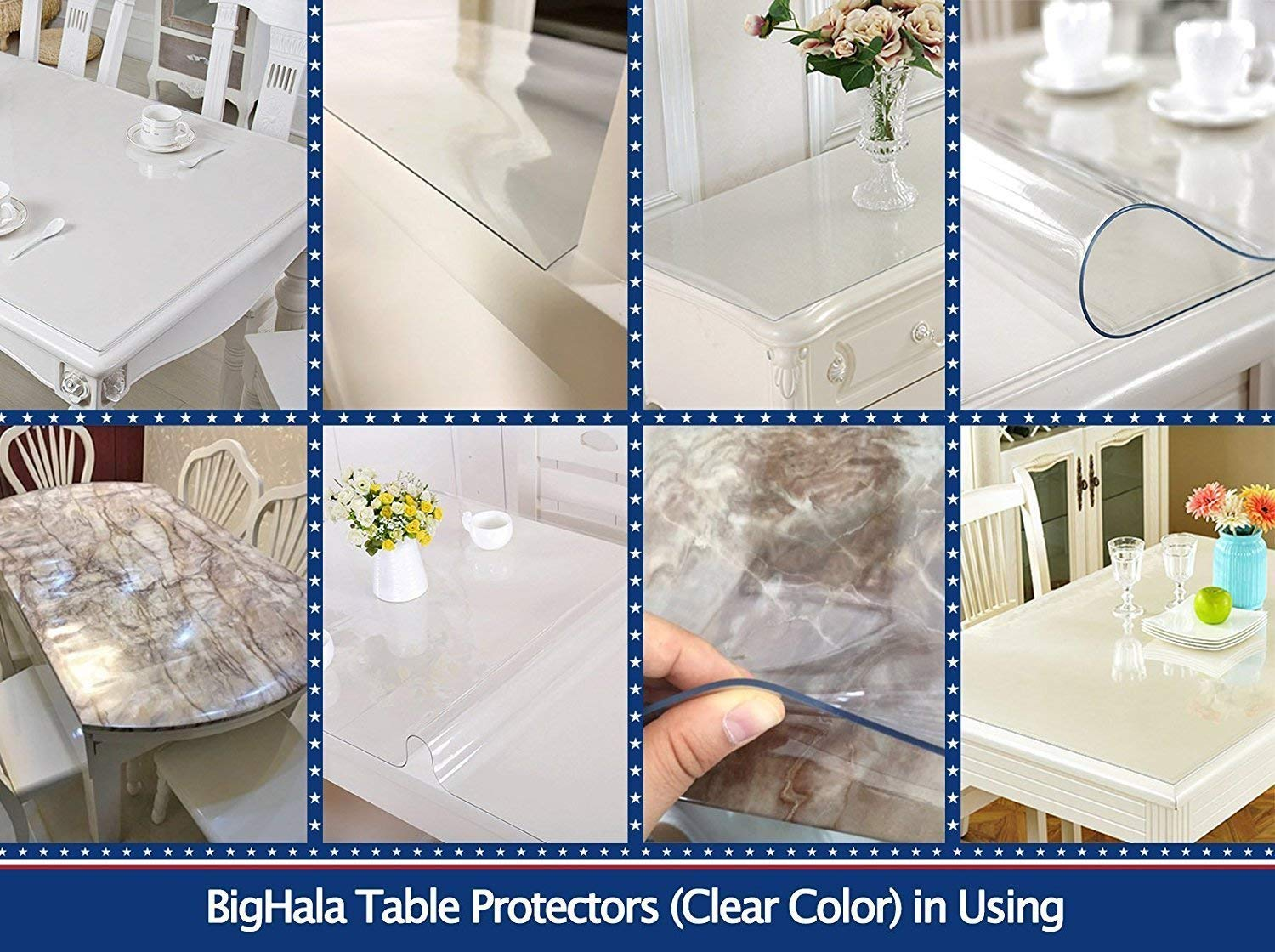36 X 60 Inch Clear Plastic Tablecloth Table Protector Eco Thicken Protective Desk Blotter Mat Cover Waterproof Wipeable Tablecloth Roll Easy Clean PVC Vinyl Dining Coffee Tabletop Protection Liner Pad by BigHala (Image #6)