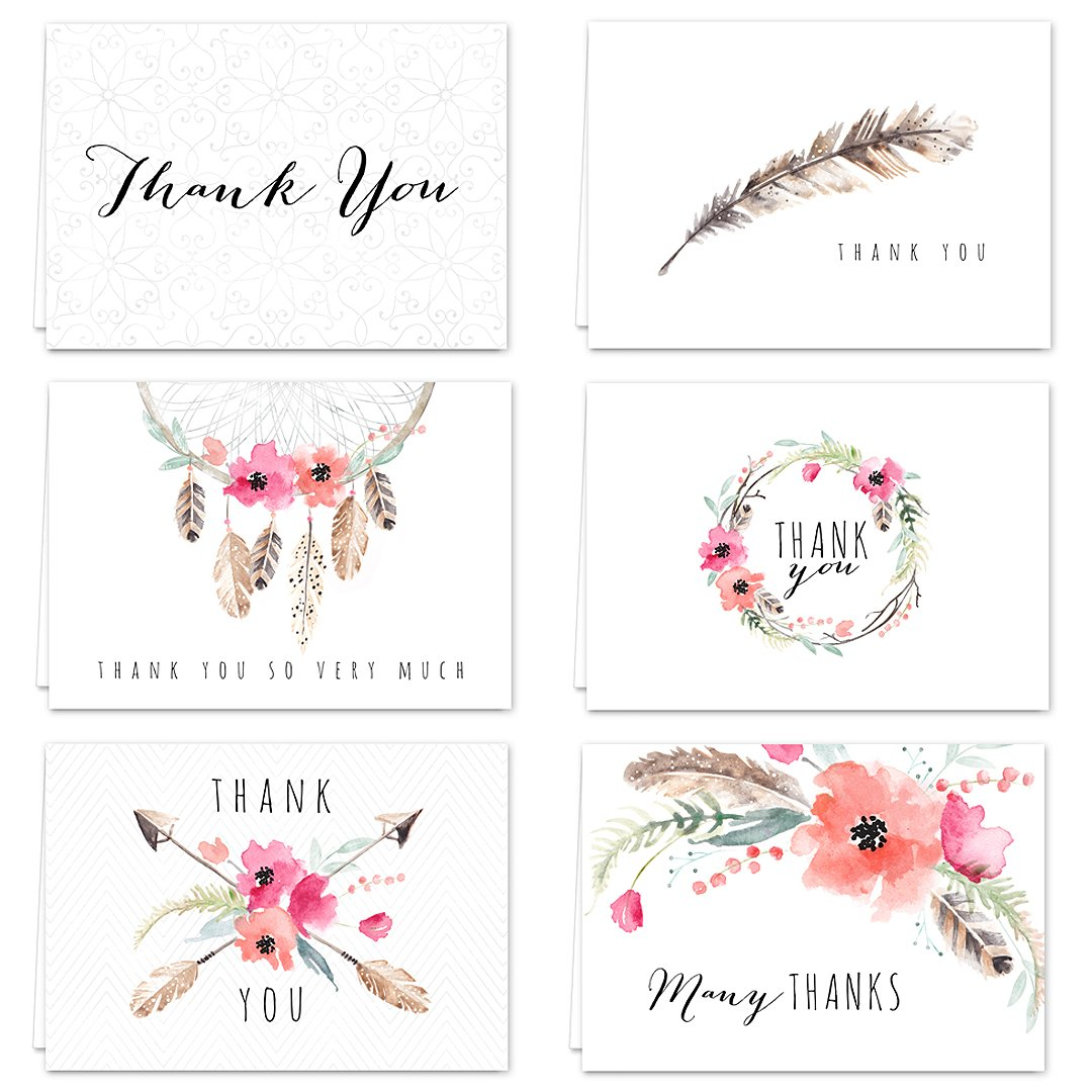Boho Spirit Canopy Street Blank Thank You Greeting Note Cards