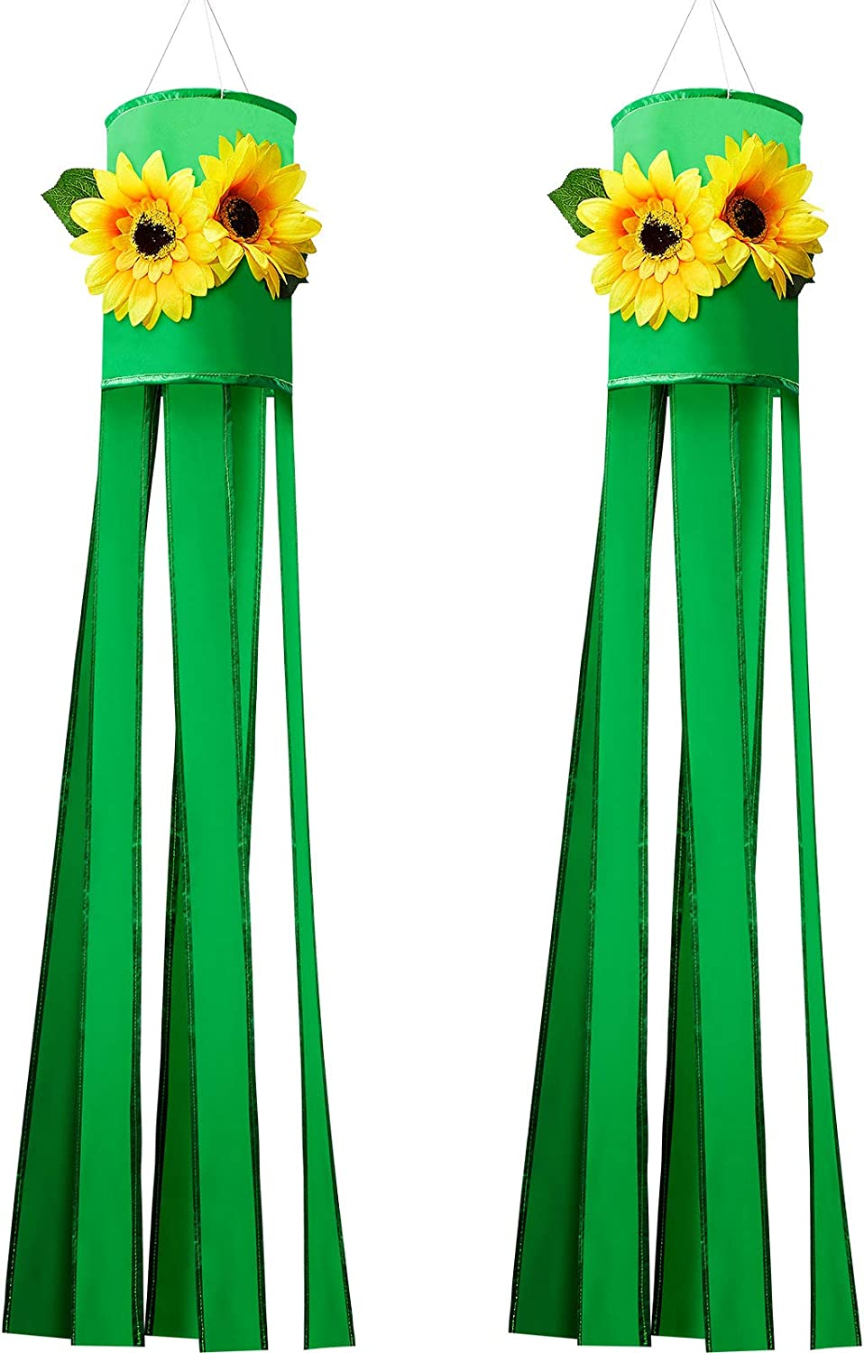 2 Pieces Sunflower 3D Windsock Outdoor Hanging Windsock Sunflower Themed Holiday Decorative Windsock with Hanging Clip for Indoor Balcony Outdoor Yard Lawn Garden Party, 40 Inch