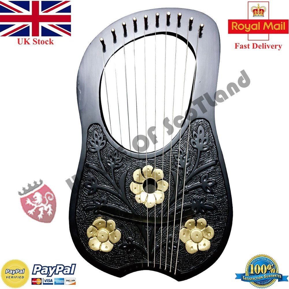 HS Lyre Harp 10 Metal String Instrument Shesham Wood/Lyra Harps/Lyre Harfe/Arpa (BLACK FLOWER DESIGN) House of Scotland