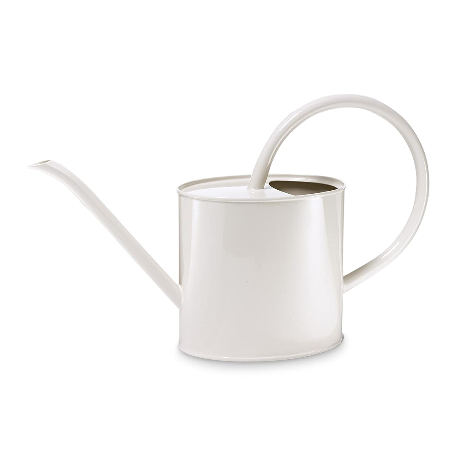 Painted metal watering can, cream white, 1.5 litres Fivekorn