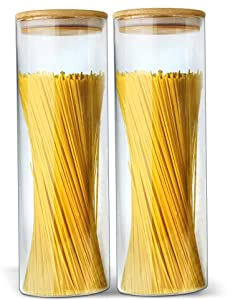 Glass Jar with Bamboo Lids Urban Green, Glass Airtight food Storage Containers, Glass Canister Sets, Large Spaghetti Jars, Pantry Organization and Storage Glass Jars, Kitchen Canisters, 2pack 70oz