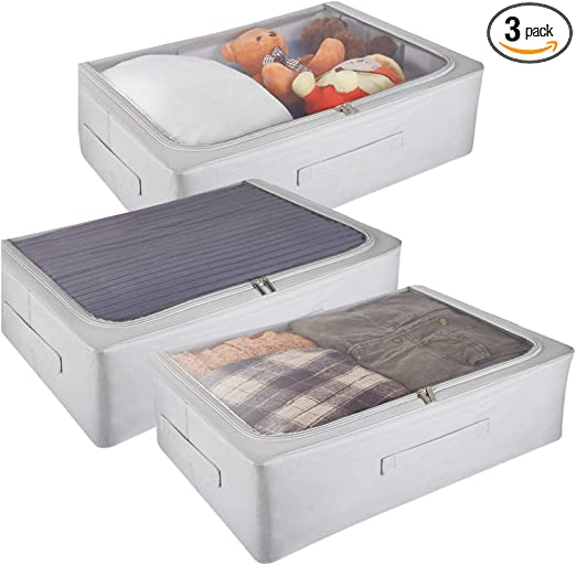Zippered Breathable Storage Container for Clothes 3 PCS Stronger Under Bed Storage Bins with High Carbon Steel Frame and Solid Bottom Shoes... Reinforced Handle Large Capacity Storage Bags Bedding