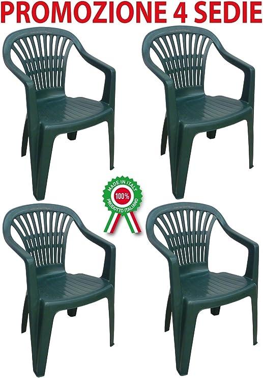 4 unidades, diseño de sillón silla Scilla en dura resina apilable de plástico verde con reposabrazos: Amazon.es: Jardín
