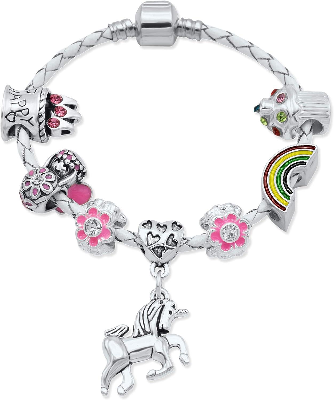Bracelet en cuir cr/ème /à breloques de licorne pour enfants avec bo/îte cadeau gratuite