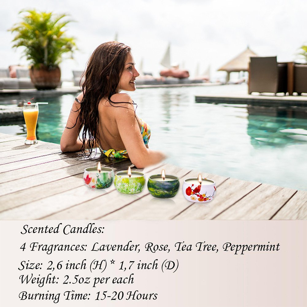 Scented Candles Lavender, Rose, Tea Tree and Peppermint,Natural Soy Wax Portable Travel Tin Candle,Set Gift of 4 by YIH (Image #7)