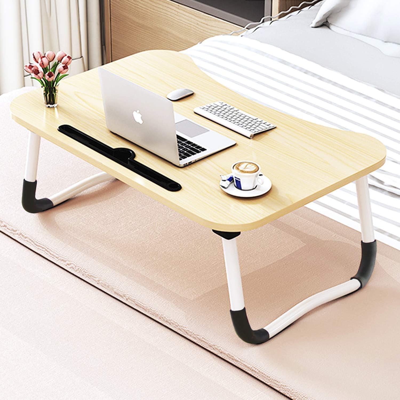 Tavolo Pieghevole con Fessura per Tazza Tavolo per Notebook Scrivania per dormitorio Tavolo Laptop -Nero Dormitorio Piccolo Dormitorio con Piccola scrivania 70 /× 50 cm