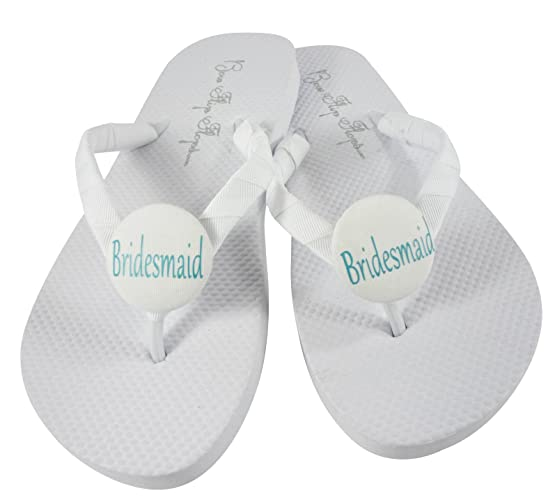 08addd9821a0b Amazon.com: White and Aqua Turquoise Blue Bridesmaid Flip Flops - or ...