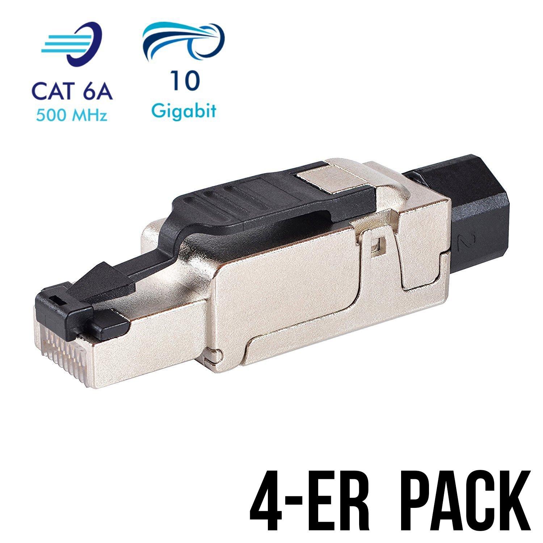 4 Stück Netzwerkstecker RJ45 CAT 6A geschirmt: Amazon.de: Computer ...