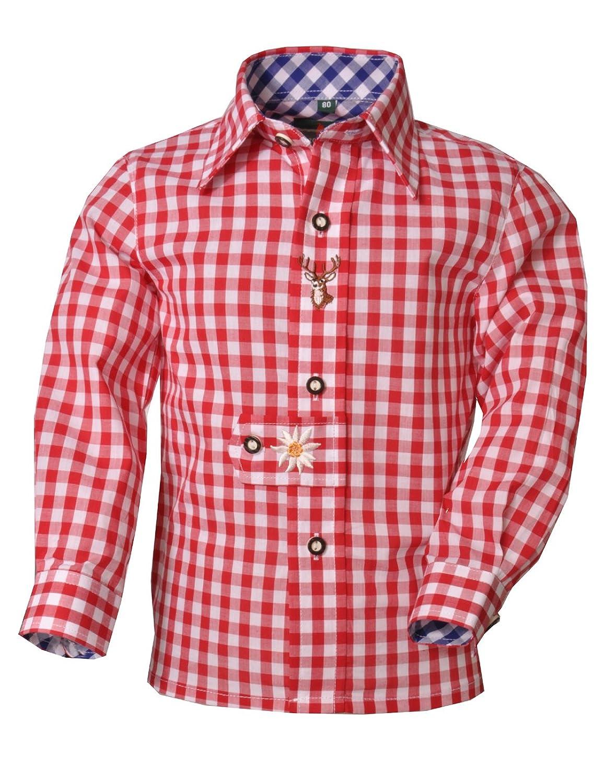 Trachtenhemd Pforzen rot/weiß Karo Langarm Kitzo Alpen