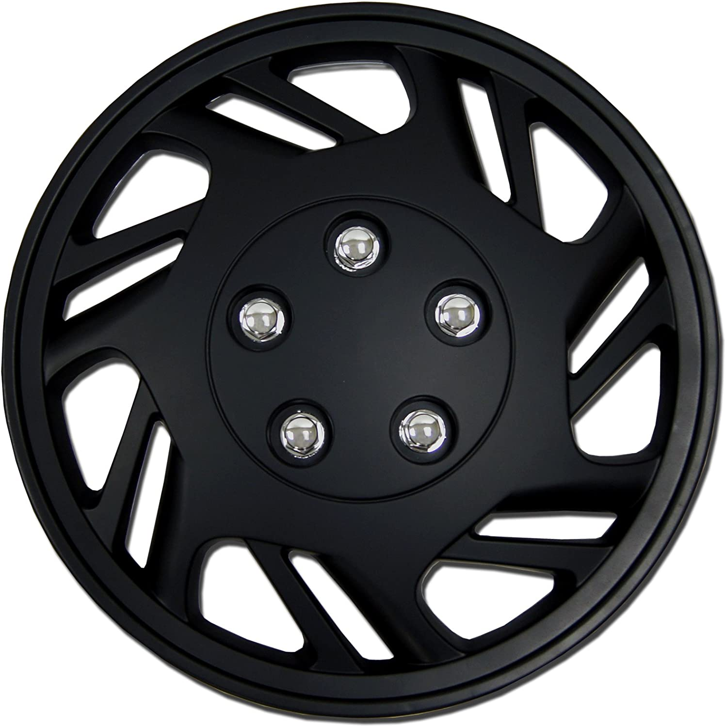 Tuningpros WC1P-15-9126-B - Pack of 1 Hubcap (1 Piece) - 15-Inches Style Snap-On (Pop-On) Type Matte Black Wheel Covers Hub-caps