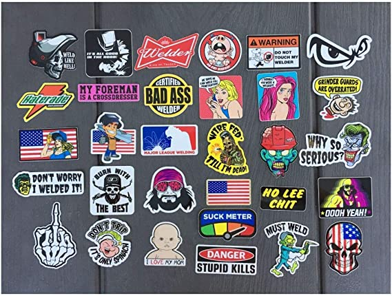 """Welder Certified Bad Ass Stickers Welding Decals Locker Toolbox 4 PACK 2/"""" tall"""