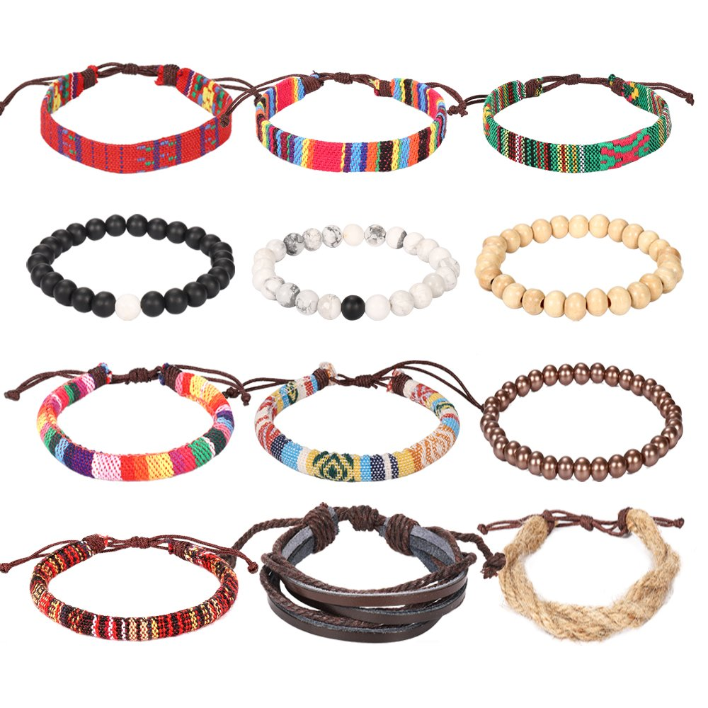 Wrap Bead Braided Tribal Leather Woven Stretch Bracelet - 12 Pack Boho Hemp Linen String Bracelet for Men Women Girls by Lateefah