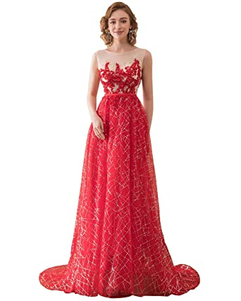 Clearbridal Womens Long Sequins Prom Dress Red Beaded Appliques Evening Gown - Red - 20