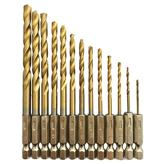 The British system Durable 13 pc Titanium Quick Change Twist Drill Bits Set