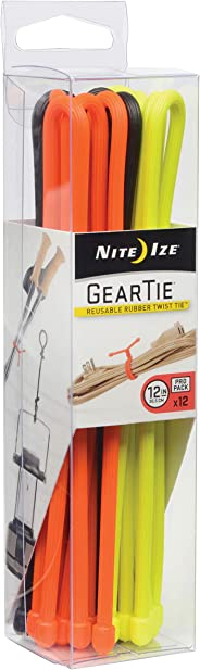 Nite Ize Original Gear Tie, Reusable Rubber Twist Tie, 12-Inch, Assorted Colors, 12 Count Pro Pack, Made in the USA