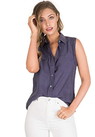 c098103bffb CAMIXA Womens 100% Silk Blouses Ladies Shirt Casual Pocket Button up  Elegant Top XS Blue
