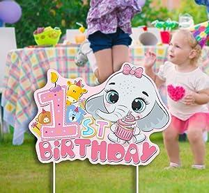 Haimimall 1st Birthday Girl Decoration 1st Birthday Yard Signs Corrugate Elephant Yard Signs for Girls Baby Elephant Decorations 1st Elephant Decor 1st Birthday Girl Decoration