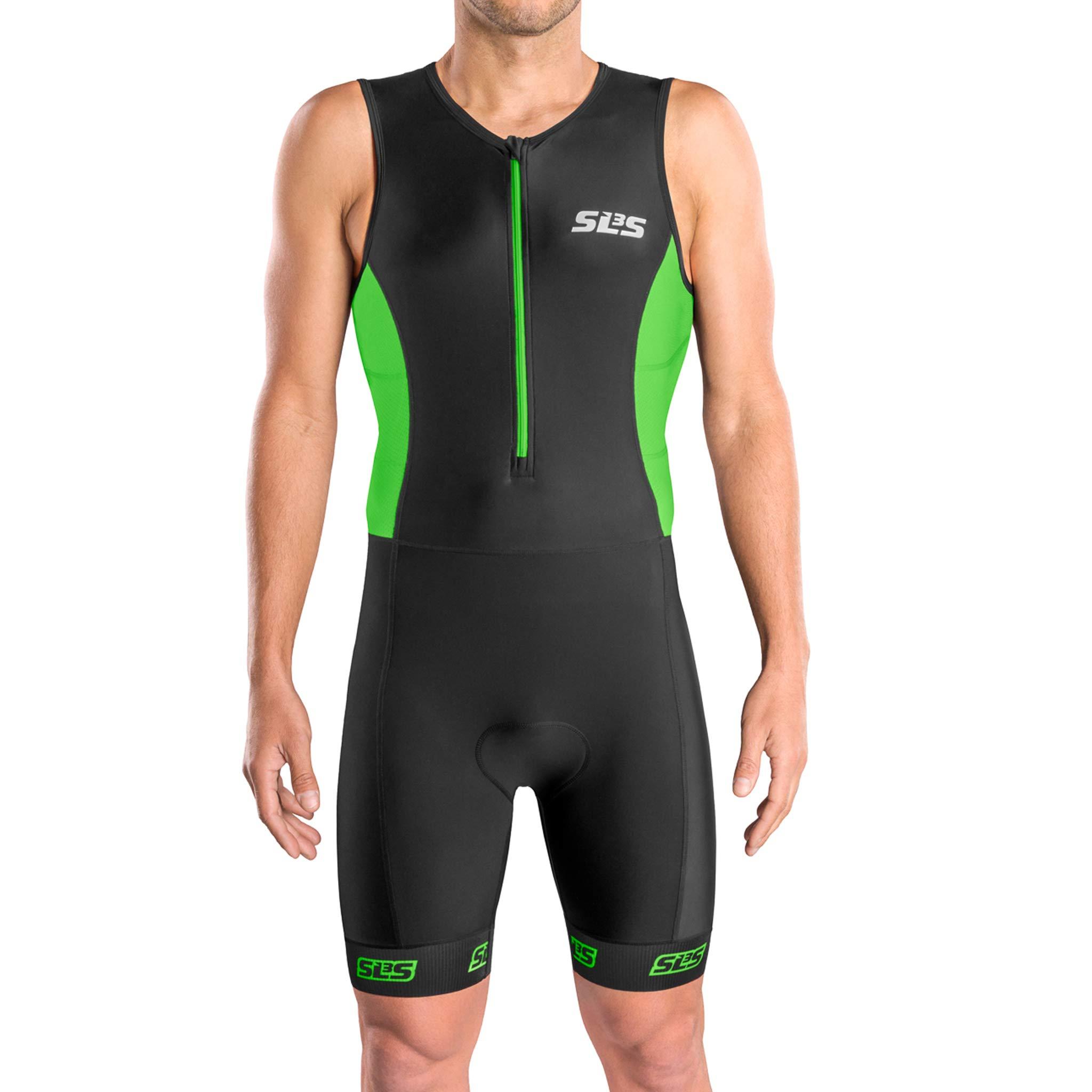 Men`s Triathlon Suit | Tri Suit Triathlon Men | Triathlon Men Suit | 2 Pockets | Skinsuit Trisuit | Great Fit and Comfortable | German Designed (Black/Green, Small)