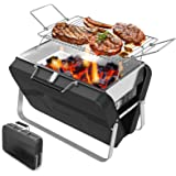 Supsiah Charcoal Barbecue Grill Portable Business Vintage BBQ Grill Suitable for Outdoor Camping, Hiking, Picnic, Backpack, P
