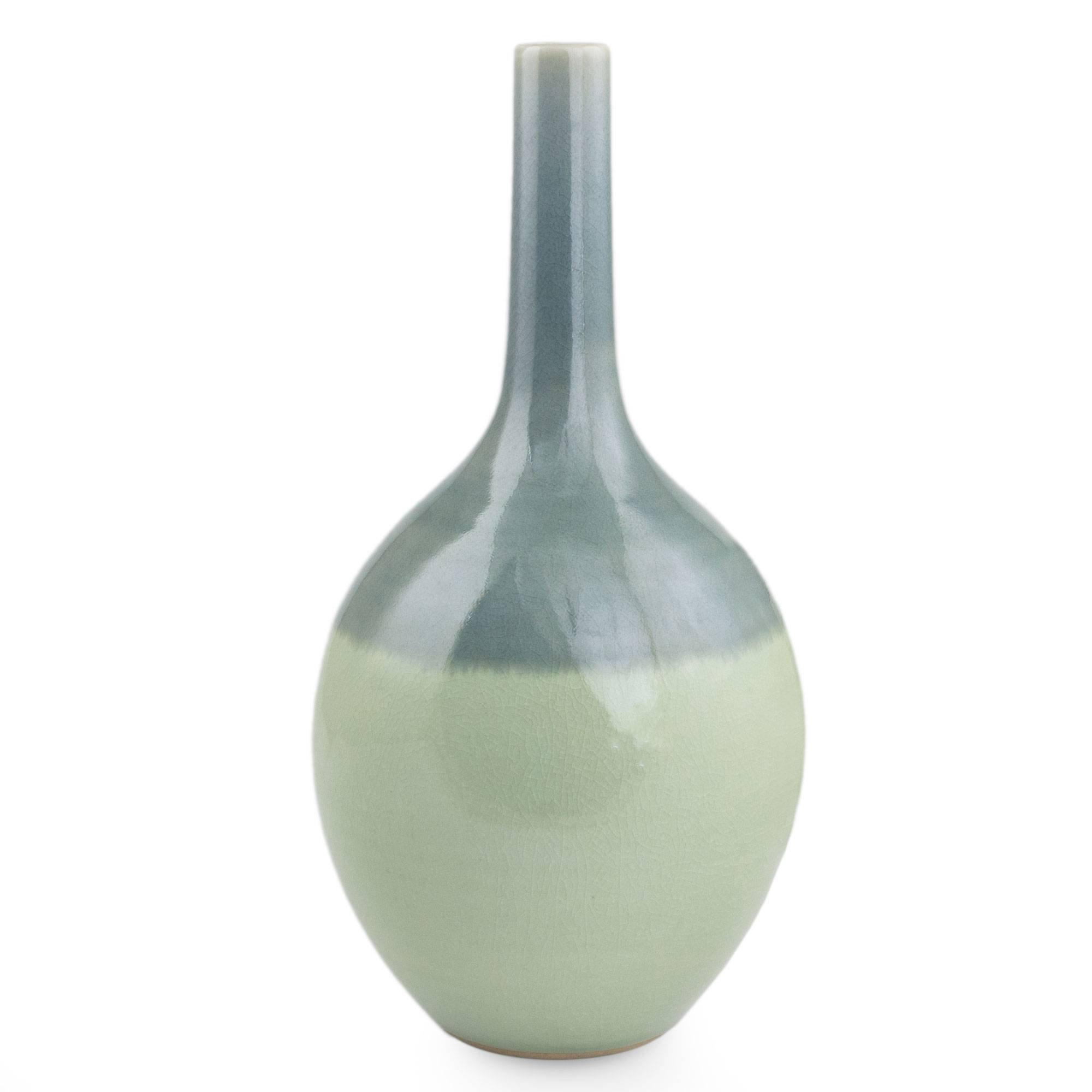 NOVICA Decorative Large Celadon Ceramic Vase, Blue, 'Dream'