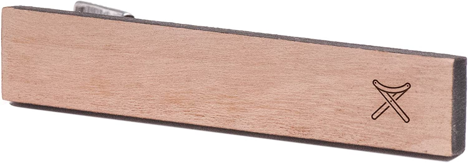 Wooden Accessories Company Wooden Tie Clips with Laser Engraved Camping Design Cherry Wood Tie Bar Engraved in The USA