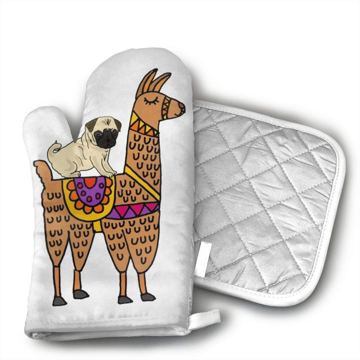 Wiqo9 Cute Pug Dog Riding On Llama Oven Mitts and Pot Holders Kitchen Mitten Cooking Gloves,Cooking, Baking, BBQ.