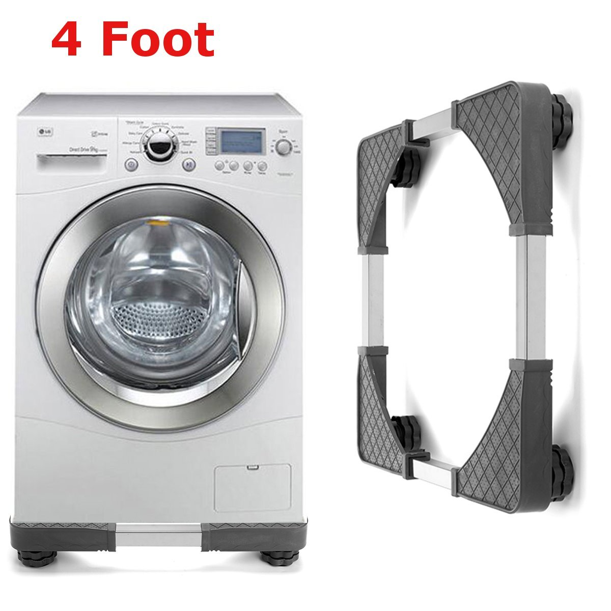 Vivona Hardware & Accessories Adjustable Undercarriage Bracket Base Stand for Washing Machine Refrigerator - (Size: 4)