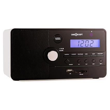 oneConcept Luzern Radio Despertador de diseño clásico (USB, SD, AUX, 30 memorias para emisoras, Doble Alarma, Temporizador de Apagado, Altavoz ...