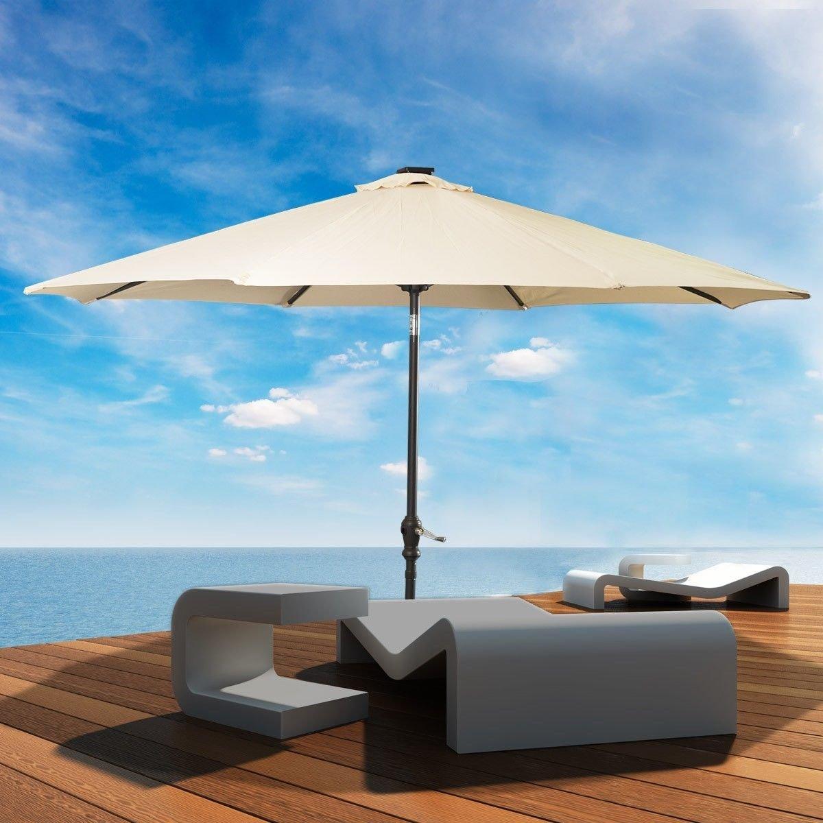 Amazon.com : LED Steel Pole Patio Solar Umbrella Outdoor Beach Garden Patio  Tiltable Beige 10FT : Garden U0026 Outdoor