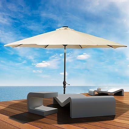 LED Steel Pole Patio Solar Umbrella Outdoor Beach Garden Patio Tiltable  Beige 10FT