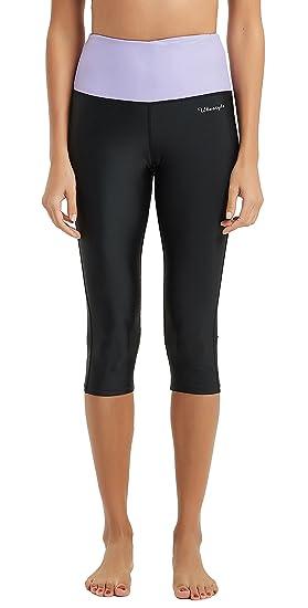 9a60a8ed0b789 Ubestyle UPF 50+ High Waist Women s Yoga Capri Leggings Swimming Tights Sun  Protective