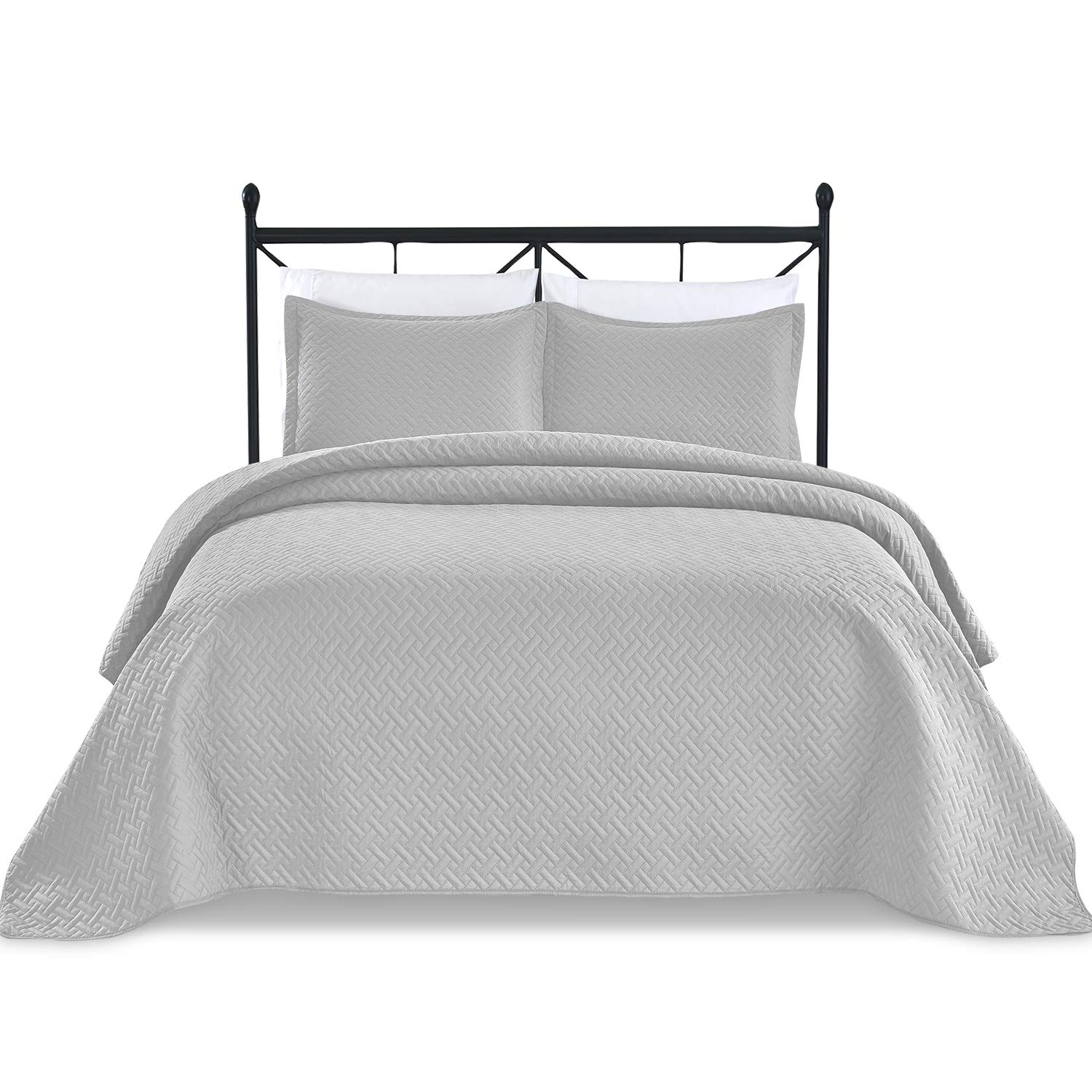 Basic Choice 3-Piece Light Weight Oversize Quilted Bedspread Coverlet Set - Silver Gray, Light Gray, Full/Queen Bedding