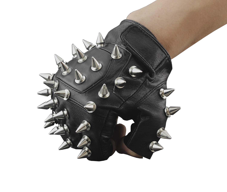 Men Punk Biker Driving Motorcycle Hedgehog Spike Leather Fingerless Gloves xtom2013